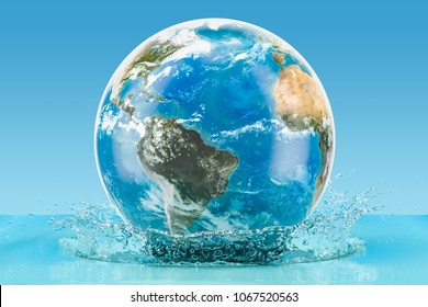 Earth Globe with water splash on the blue background, 3D rendering, Elements of this image furnished by NASA