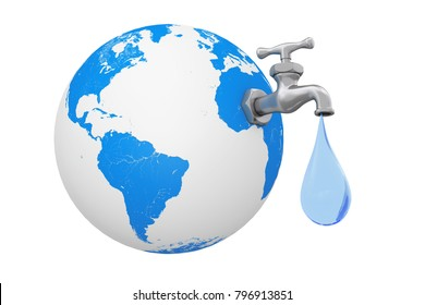 Earth Globe with Water Tap and Water Drop on a white background. 3d Rendering.