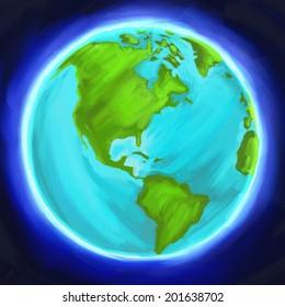 Earth Globe Western Hemisphere digital oil painting