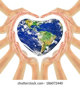 Earth globe in woman hands making heart shape isolated on white background . Unity, world peace, Earth care concept. Elements of this image furnished by NASA