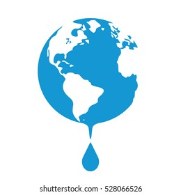 Earth globes isolated on white background. Concept of water resources. Drop of water. Flat planet Earth icon. Raster illustration.