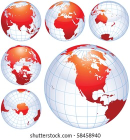 Earth globes isolated on white. traced from my original photography (Dated 8 May 2010, 5.34pm) as a base.