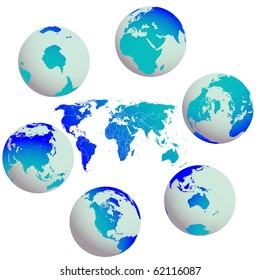 earth globes and world map against white, abstract art illustration; for vector format please visit my gallery