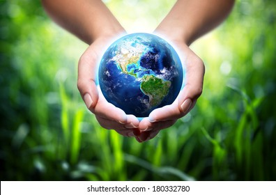 earth in hands - environment concept  - Usa, elements of this image furnished by NASA
