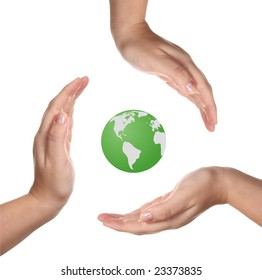 Earth and hands isolated on white background