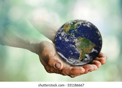 Earth in hands of old man asia , Elements of this image furnished by NASA