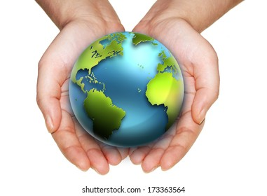 earth in hands on a white background. Elements of this image furnished by NASA.