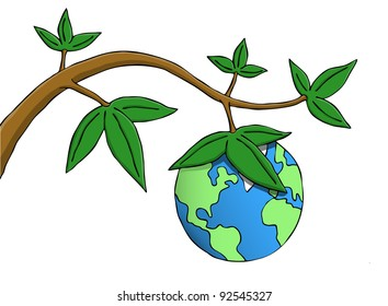 Earth hanging as fruit from a branch. Symbolic picture of environmental, responsibility and existential issues.