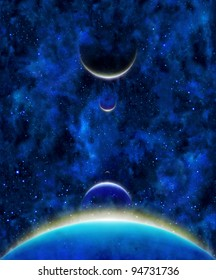 earth heavenly bodies celestial bodies with color lines above in blue stars space background