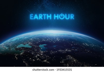 Earth Hour event. Planet Earth in dark outer space. Orbit and surface. Elements of this image furnished by NASA