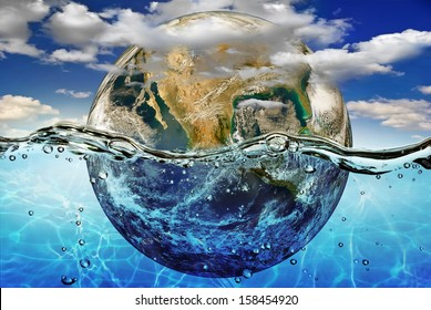 """Earth is immersed in water, among the clouds against the sky.""""Elements of this image furnished by NASA"""""""