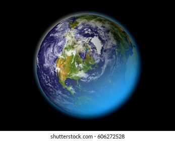 Earth isolated on black, North America world map. maps courtesy of NASA