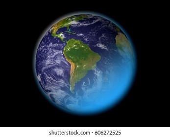 Earth isolated on black, South America world map. maps courtesy of NASA