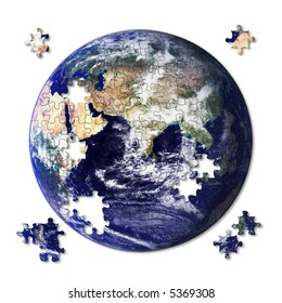 Earth jigsaw almost complete with some pieces still left to place. Source image courtesy of NASA