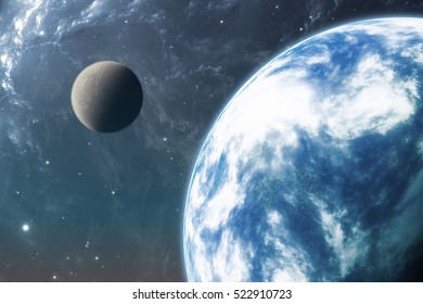 Earth like planet or Extrasolar planet with moon. 3D illustration