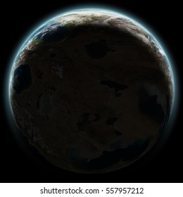 Earth like planet seen from outer space at night, with sun rising behind it. Isolated image on black background.