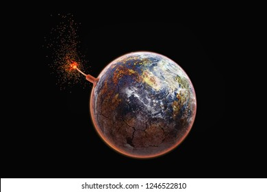 Earth like a vintage bomb. Global catastrophe concept. Pollution, greenhouse effect, global warming are destroying our planet.