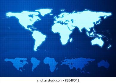 Earth mainlands on blue deep grids