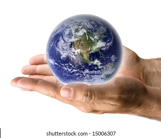 Earth in male hand's palm