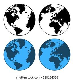 Earth Map Set Isolated on White.  illustration
