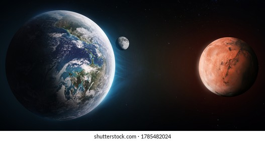 Earth and Mars collage. Planets in solar system. Voyage and exploration of Mars. Place for infographics. Elements of this image furnished by NASA - Shutterstock ID 1785482024