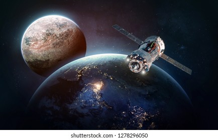 Earth, Mars and space ship in the solar system. Technology and civilization. Colonization. Elements of this image furnished by NASA