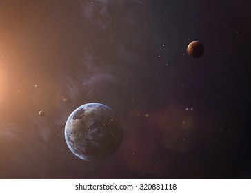 The Earth and Mars from space showing all they beauty. Extremely detailed image, including elements furnished by NASA. Other orientations and planets available.