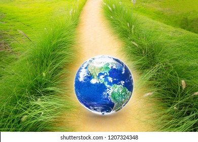 Earth in the middle of walking trail with green grass, earth day and environment concept, Elements of this image furnished by NASA