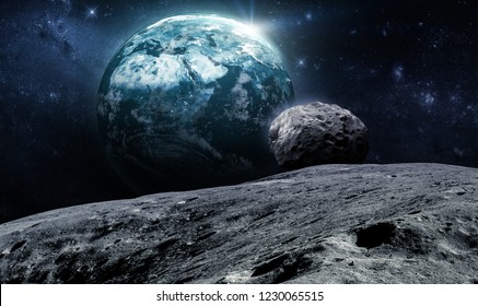 Earth and Moon with asteroid on background. Deep space. Elements of this image furnished by NASA