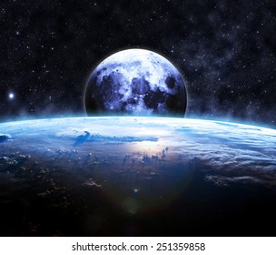 Earth and the Moon - Elements of this Image Furnished by NASA