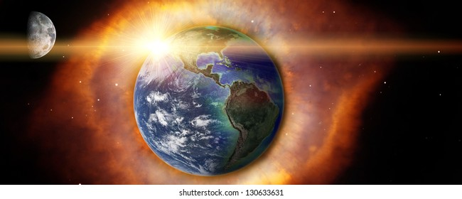 Earth and moon with explosion in space Elements of this image furnished by NASA