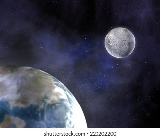 Earth and moon, focus on the moon