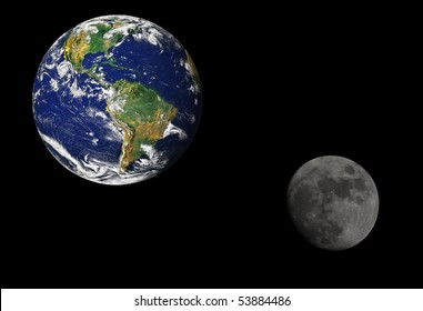 Earth and the moon. Earth map by courtesy of NASA