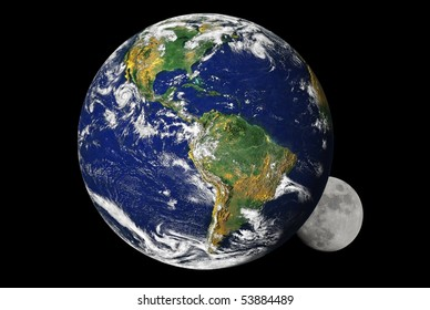 Earth and the moon, with earth partially covering the moon. Earth map by courtesy of NASA