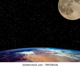Earth and moon. Science theme.The elements of this image furnished by NASA.