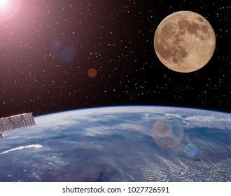 Earth and moon. Science theme. Outer space. The elements of this image furnished by NASA.