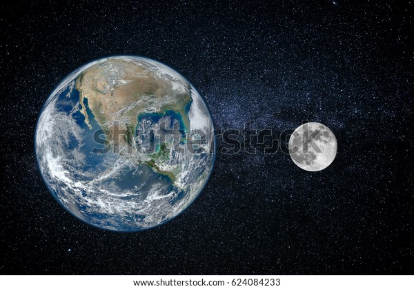 Earth and moon - size of planets, view from space (Elements of this image furnished by NASA)