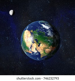 Earth and Moon from space showing Europe Middle East and North Africa. 3D Rendered
