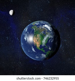 Earth and Moon from space showing North America. 3D Rendered