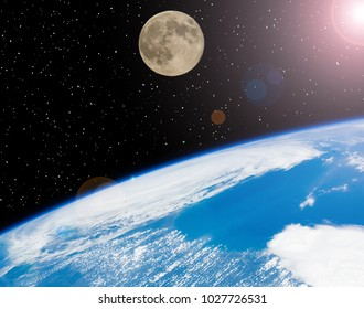 Earth and moon. Space view. The elements of this image furnished by NASA.