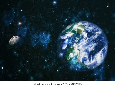 Earth and moon view from space . Extremely detailed image including elements furnished by NASA.
