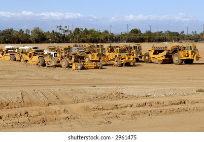 Earth Moving Equipment Parked After A Day of Work