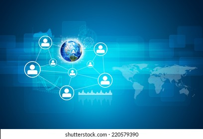Earth and network with people icons. Elements of this image are furnished by NASA