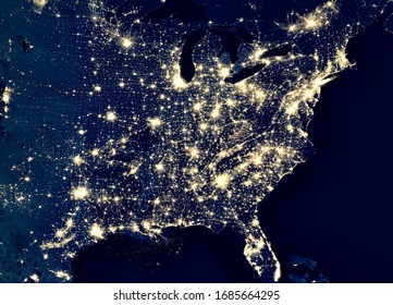 Earth at night, view of city lights in East of United States from space. USA on world map on global satellite photo. US terrain on dark planet. Elements of this image furnished by NASA. - Shutterstock ID 1685664295