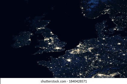 Earth at night, view of city lights showing human activity in UK, Netherlands and Belgium from space. Part of Europe on world dark map on global satellite photo. Elements of image furnished by NASA.