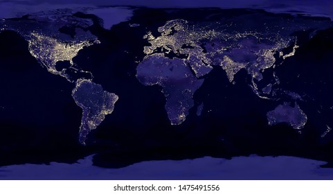 "Earth night view from space map with city lights satellite-based observations. ""Elements of this image furnished by NASA light pollution map"