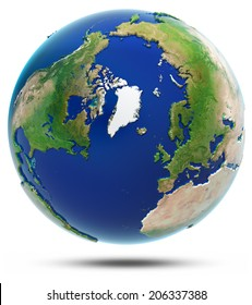 Earth north 3d map - Arctic. Elements of this image furnished by NASA