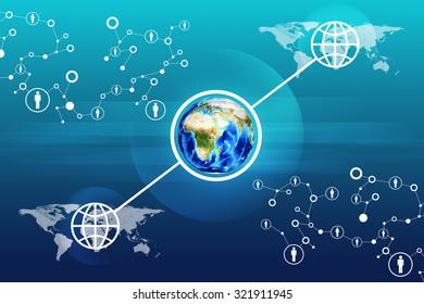 Earth on abstract blue background with world map. Elements of this image furnished by NASA