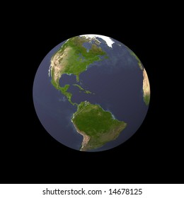 earth on black background, view by space