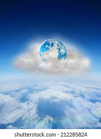 Earth on floating cloud against blue sky over clouds at high altitude